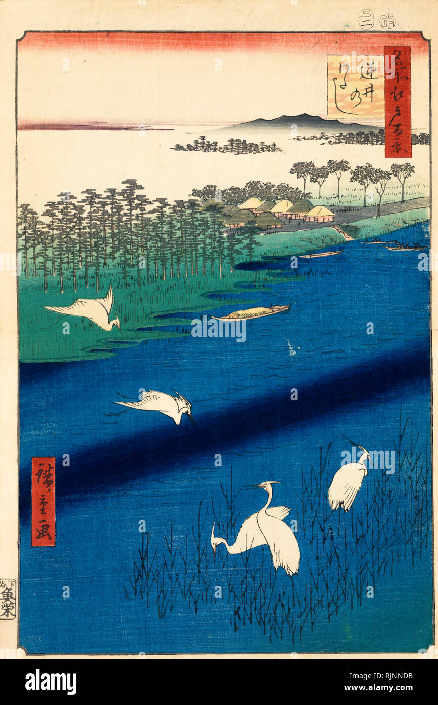Japanese Art, Hiroshige Ando, 1857, Sakasai ferry, woodcut print - Stock Image
