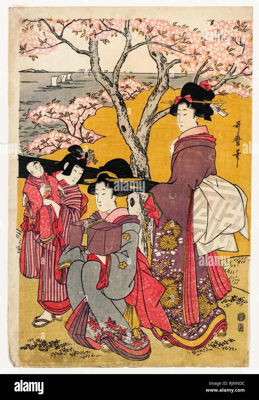 Japanese Art, Utamaro Kitagawa, 1805, Cherry viewing at Gotenyama, woodcut print - Stock Image