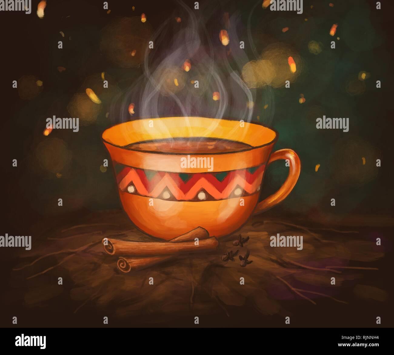 digital illustration of a cup of cinnamon tea Stock Photo