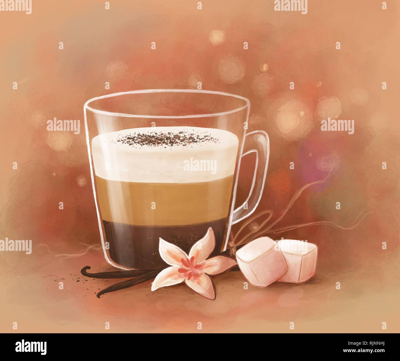 digital illustration of a cup of layered coffee with vanilla and marshmallows Stock Photo