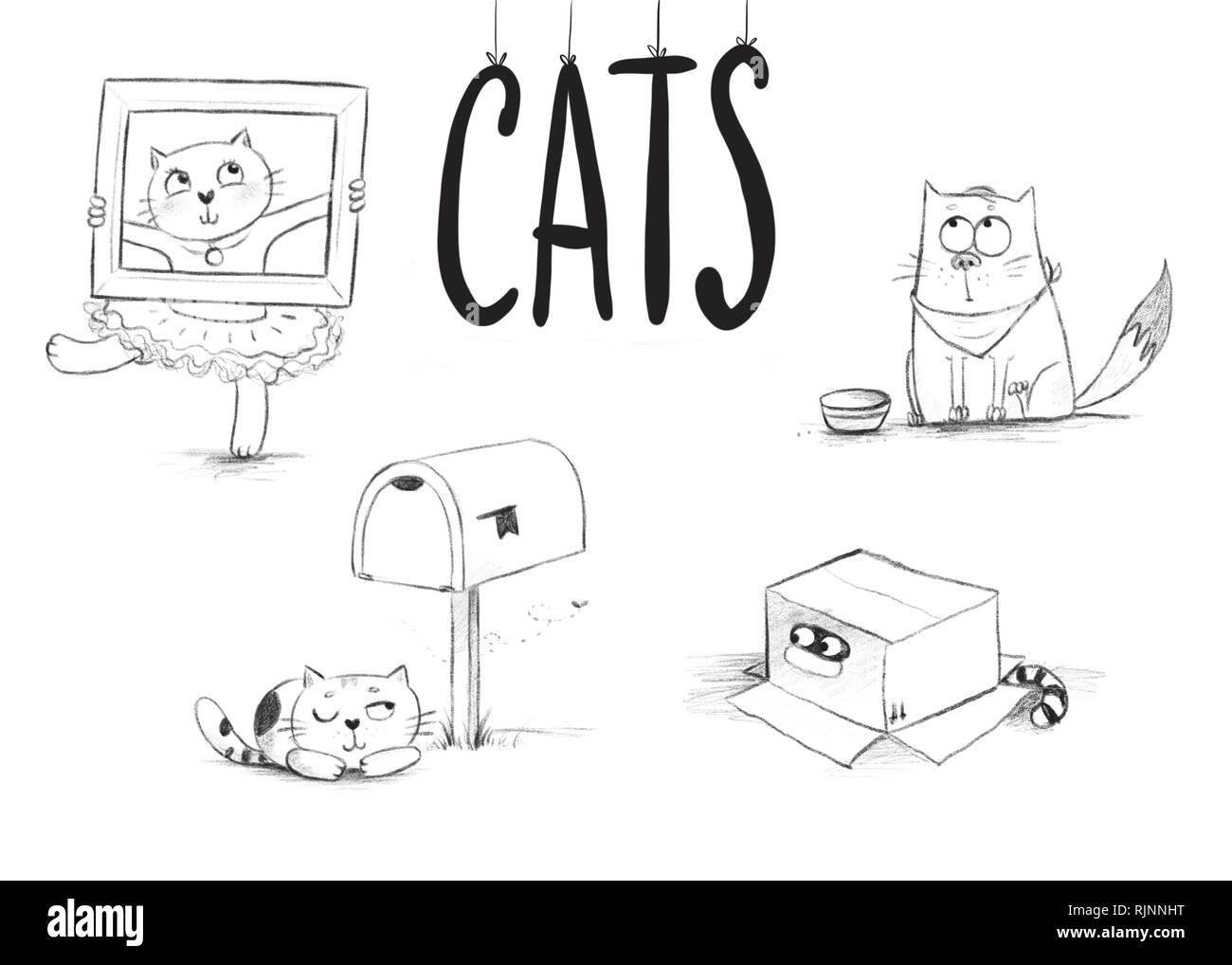 pencil sketches of cute cats in different situations - Stock Image