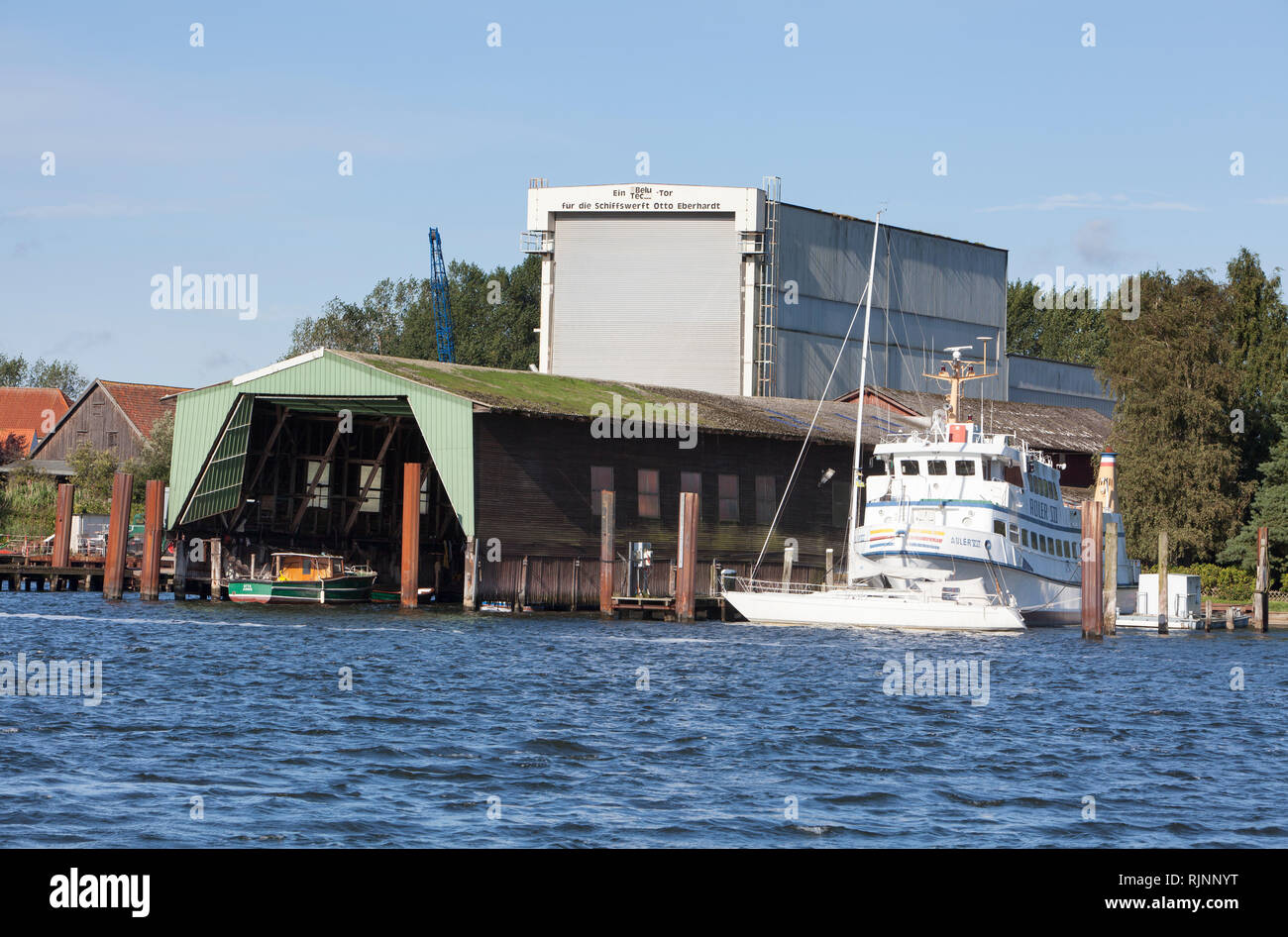 View over the Schlei from Sundsacker to Arnis, Schleswig-Holstein, Germany, Europe - Stock Image