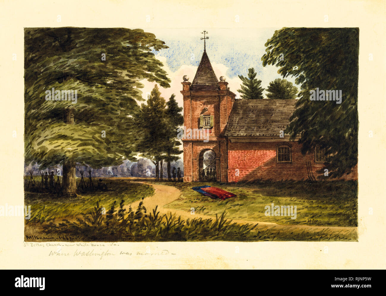 American Civil War painting, St. Peters Church, near White House, Virginia USA, Watercolour, William McIlvaine 1862 - Stock Image