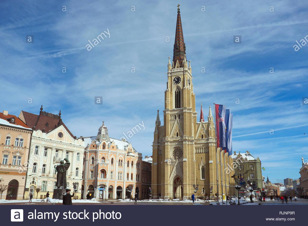 City of Novi Sad, with The Name of Mary Church (Roman Catholic) facing out over the city centre. Novi Sad, Vojvodina, Serbia. Stock Photo
