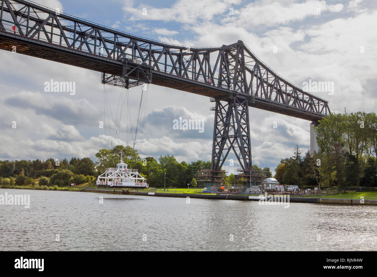Rendsburg High Bridge with suspension ferry, Kiel Canal, Rendsburg, Schleswig-Holstein, Germany Stock Photo