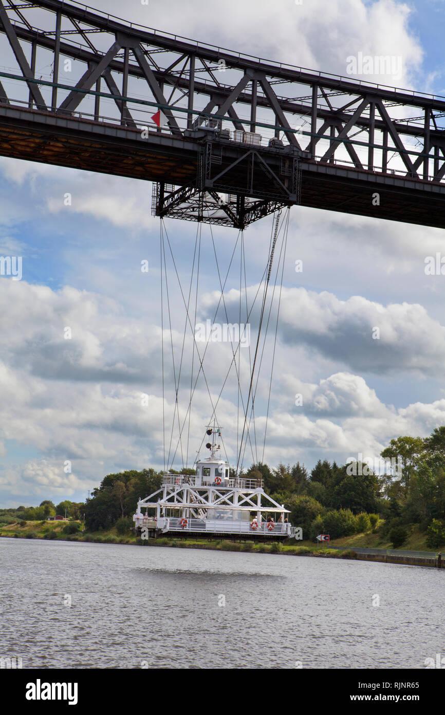 Rendsburg High Bridge with suspension ferry, Kiel Canal, Rendsburg, Schleswig-Holstein, Germany - Stock Image