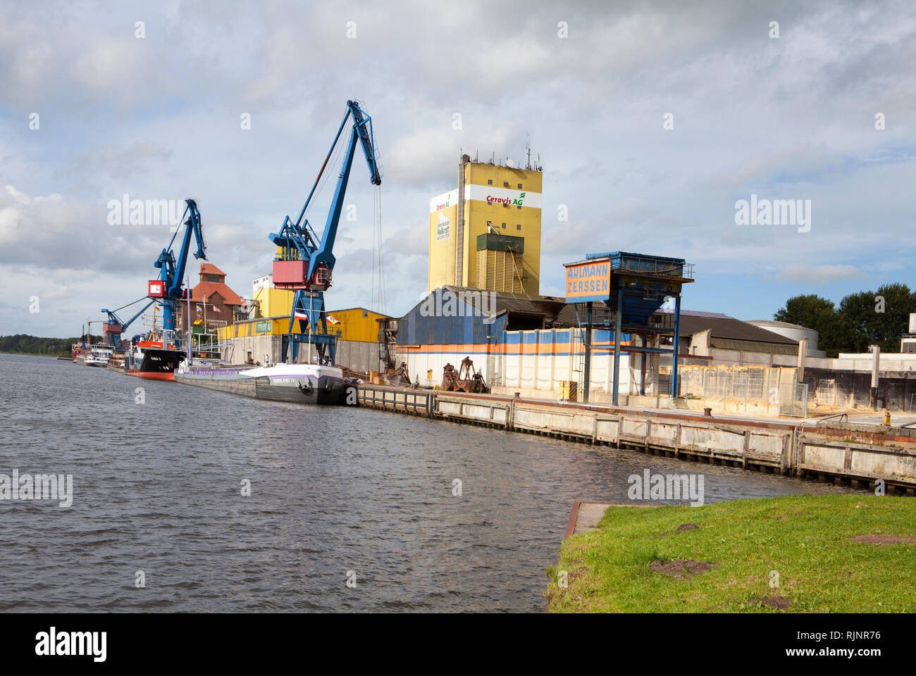 Rendsburg port, Kiel Canal, Rendsburg, Schleswig-Holstein, Germany - Stock Image