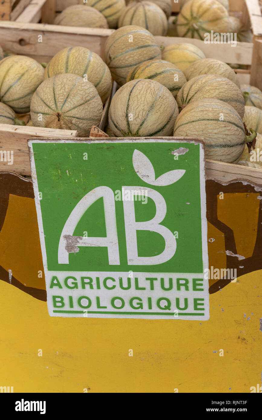 Melons from organic farming on a market, summer, Ardèche, France Stock Photo