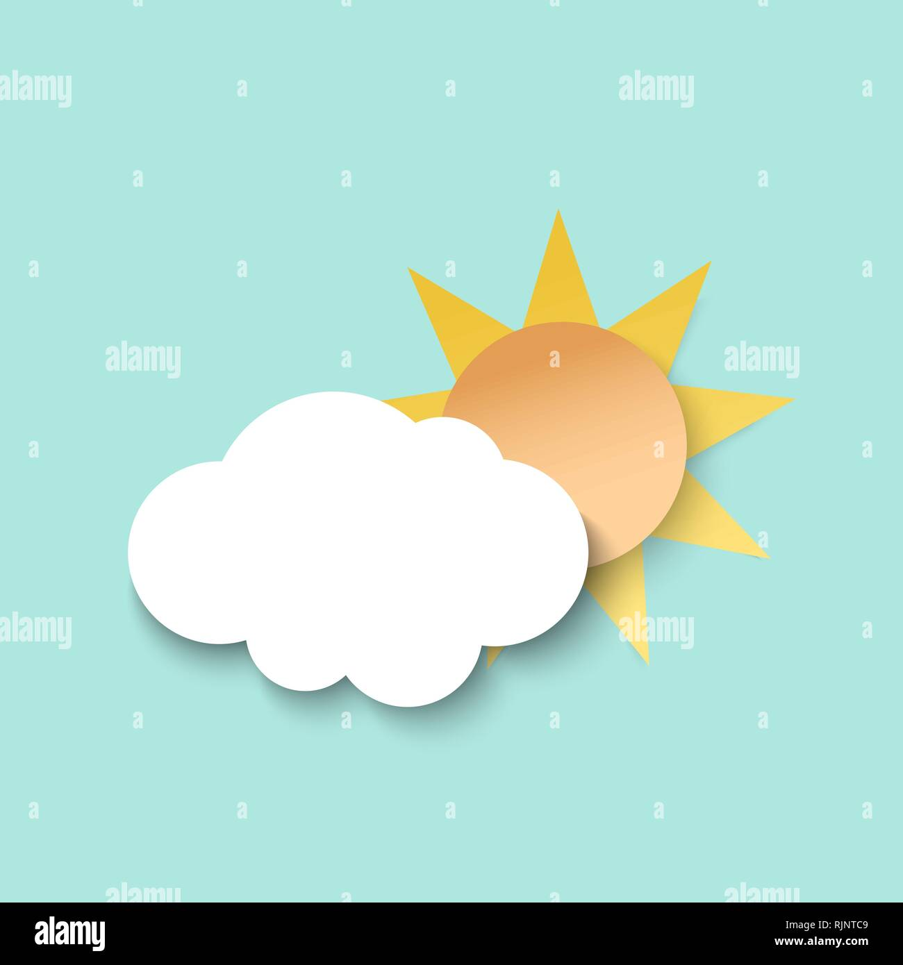 White paper cut cloud and sun. 3d paper art style. Weather illustration - Stock Image