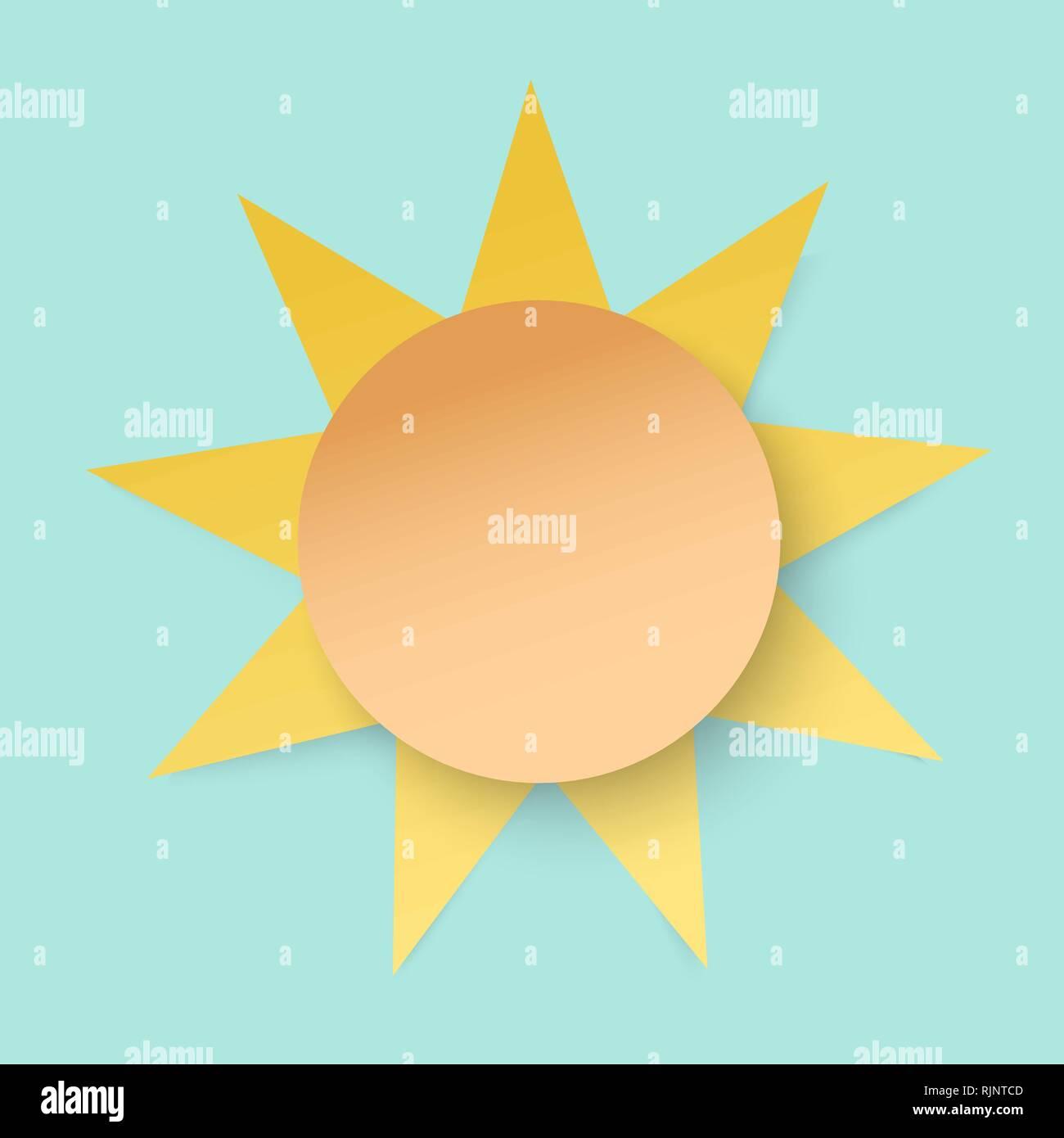 White paper cut sun. 3d paper art style. Weather illustration - Stock Image