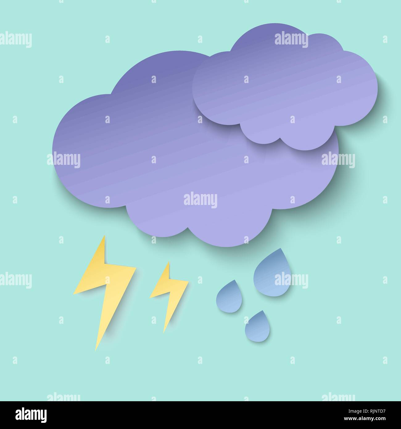 Dark paper cut clouds, lightning and rain drops. 3d paper art style. Weather illustration - Stock Image
