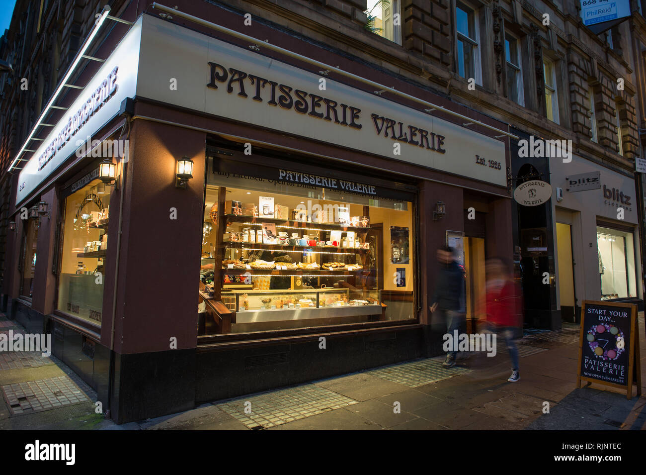 Glasgow, UK. 25 January 2019. Patisserie Valerie is a chain of cafés that operates in the United Kingdom. The chain specialises in hand-made cakes, an - Stock Image