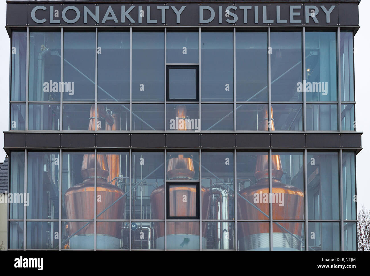 large copper whisky or whiskey stills in Clonakilty west cork ireland - Stock Image