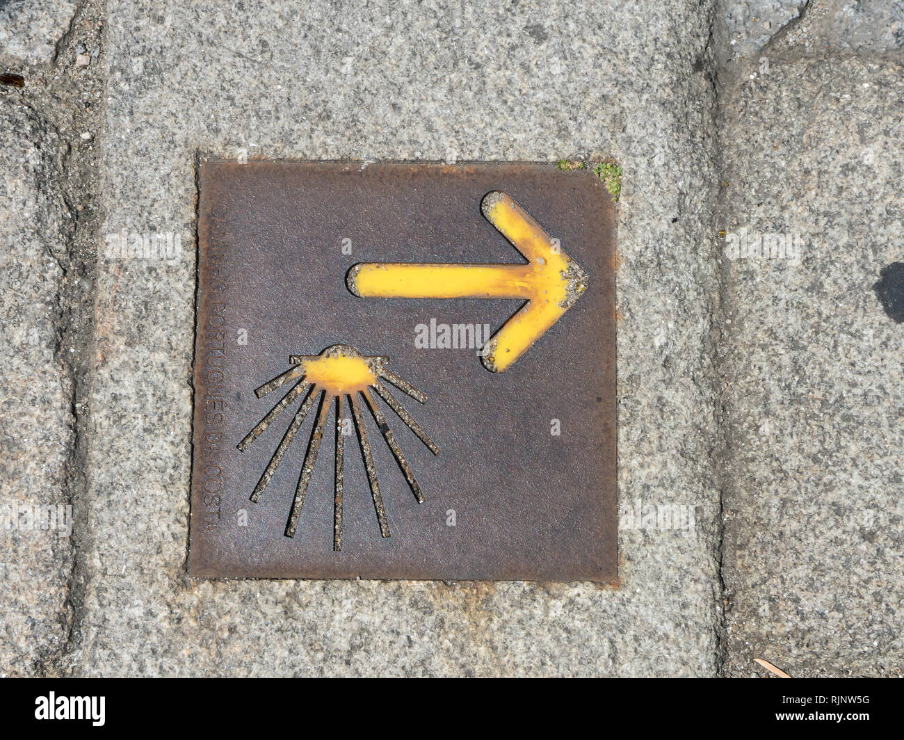 Directional arrow on the Way of St James - Stock Image