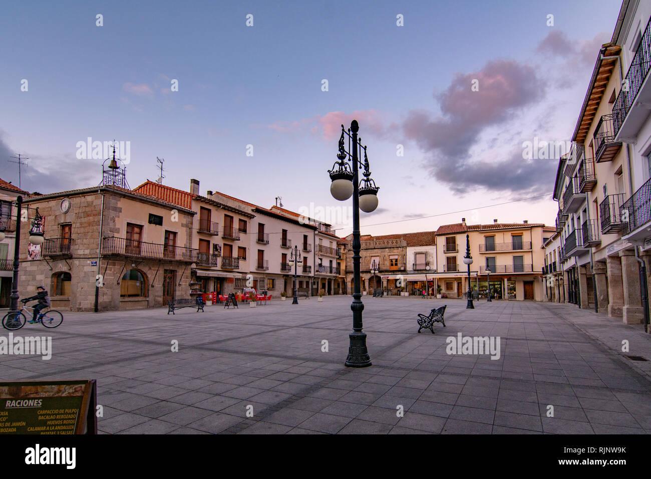 Barco de Avila, Avila, Spain, January 2017: view of the main square of the town of Barco de Avila Stock Photo
