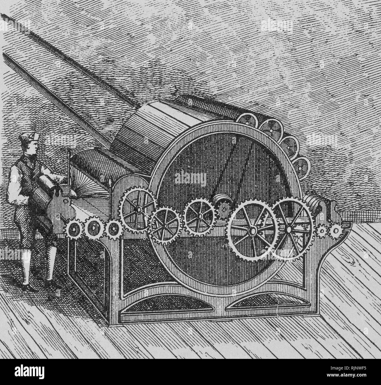 MAQUINA AUTOMATICA DE CARDAR-1773. Author: ARKWRIGHT, RICHARD. - Stock Image