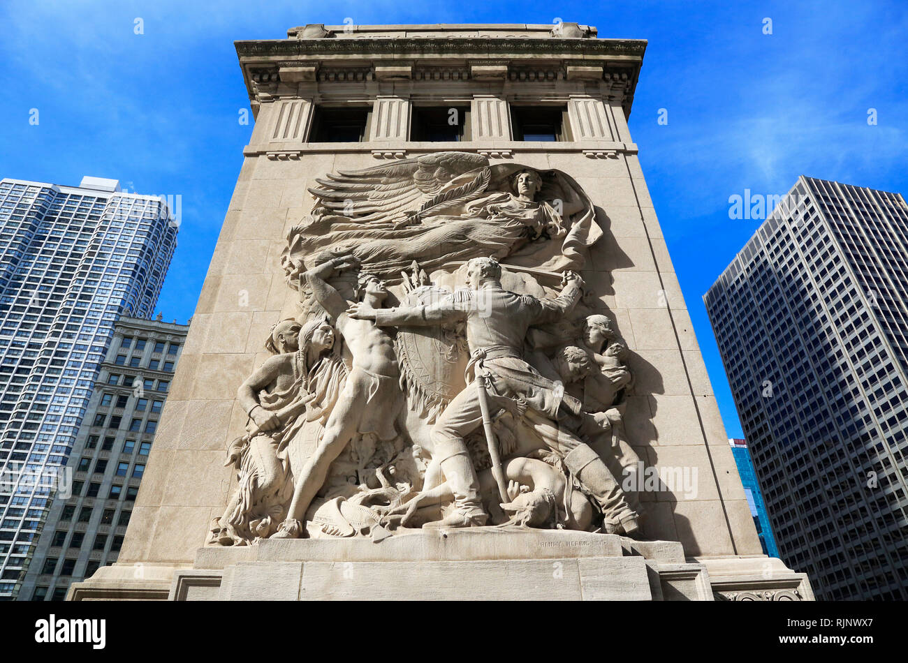 Sculpture of Defense made by American sculptor Henry Hering decorated bridge tender house of Michigan Avenue Bridge.Chicago.Illinois.USA - Stock Image