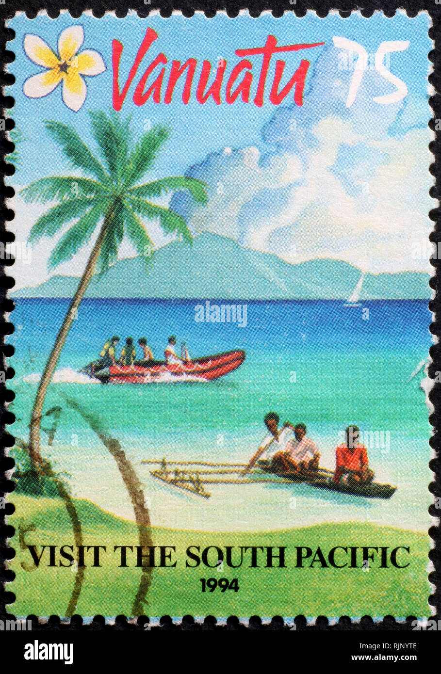 Touristic poster on postage stamp of Vanuatu islands - Stock Image
