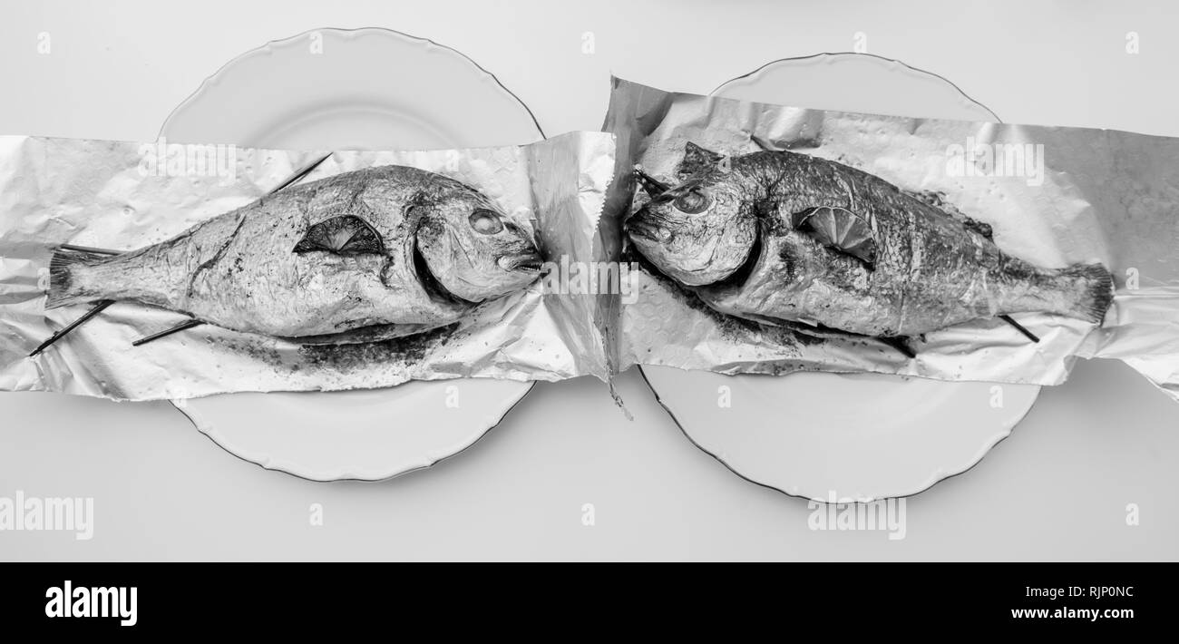 Wide image of two gilt-head bream fish on the aluminum foil on white table - view from above od delicious food homemade - back and white - Stock Image