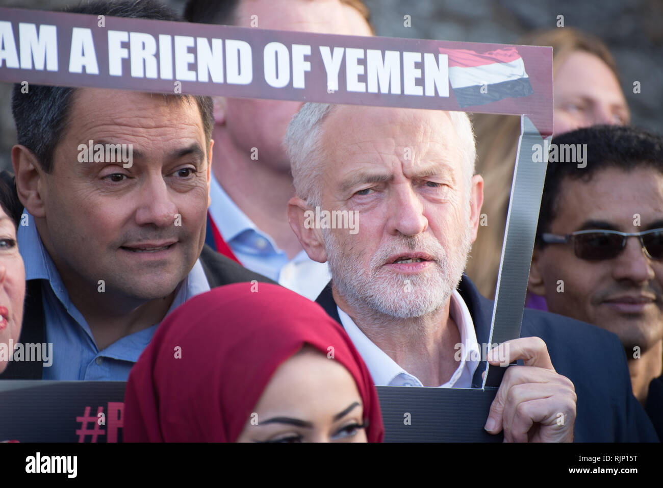 Stephen Twigg MP (L), Member of the United Kingdom Parliament for Liverpool West Derby, and Rt. Hon. Jeremy Corbyn MP (R), Leader of the United Kingdo Stock Photo