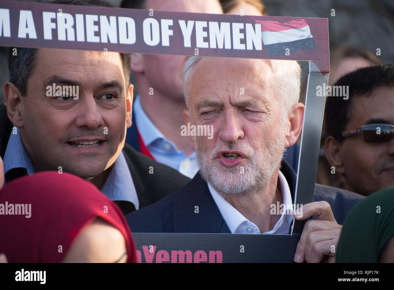Stephen Twigg MP (L), Member of the United Kingdom Parliament for Liverpool West Derby, and Rt. Hon. Jeremy Corbyn MP (R), Leader of the United Kingdo - Stock Image