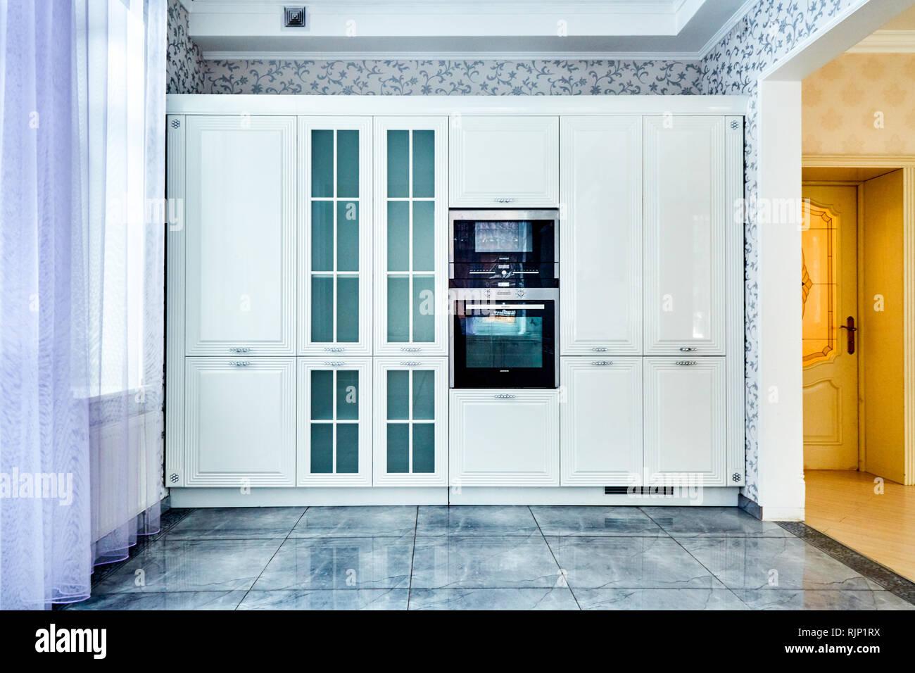 Modern white kitchen interior. Concept interior room style Stock Photo