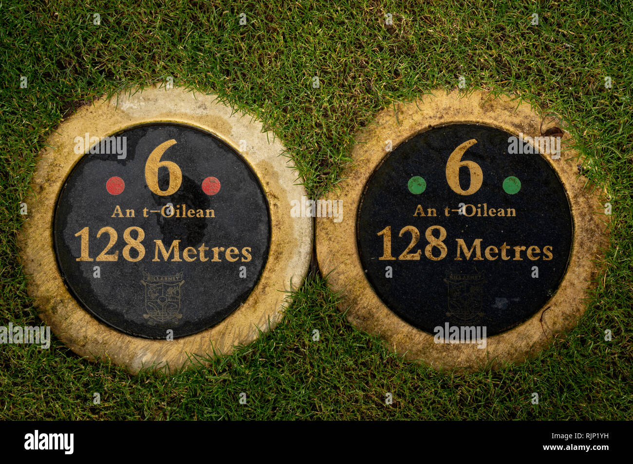 Tee marker markers. Golf course tee distance marker in meters. Killarney Golf and fishing club County Kerry Ireland. Tee golf box on the ground. - Stock Image