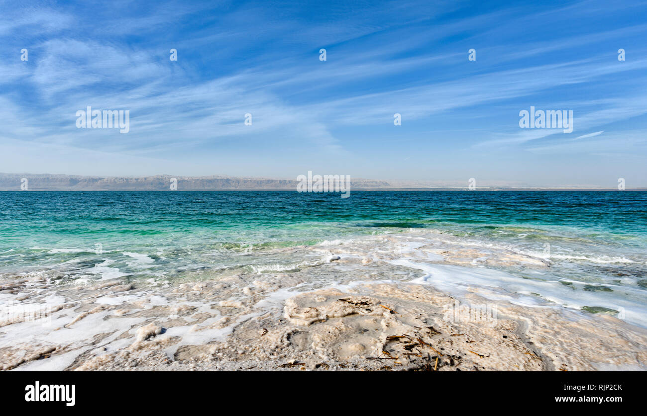 Beautiful view of the Dead Sea seen from the Israeli border. - Stock Image