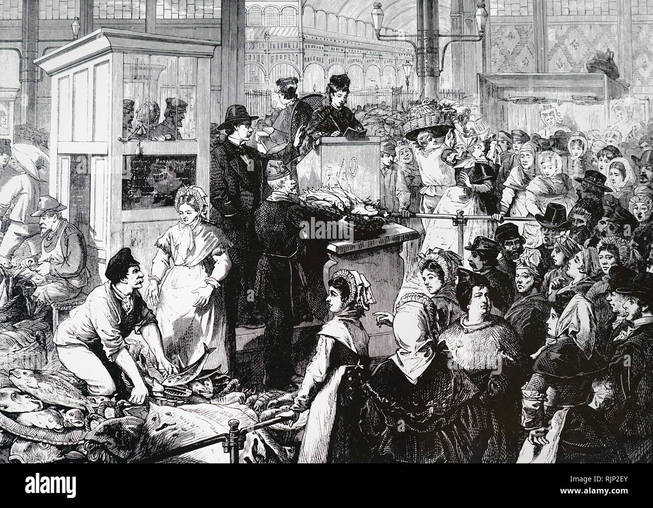 An engraving depicting a Paris fish market during lent. Dated 19th century - Stock Image