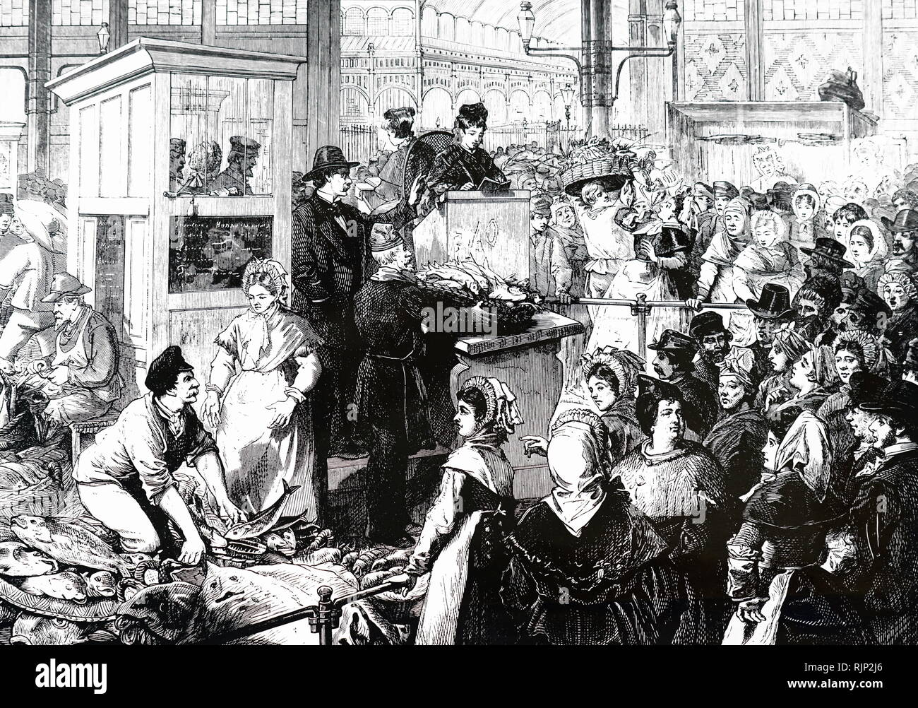 Engraving depicting the Paris fish market during lent. Dated 19th century - Stock Image