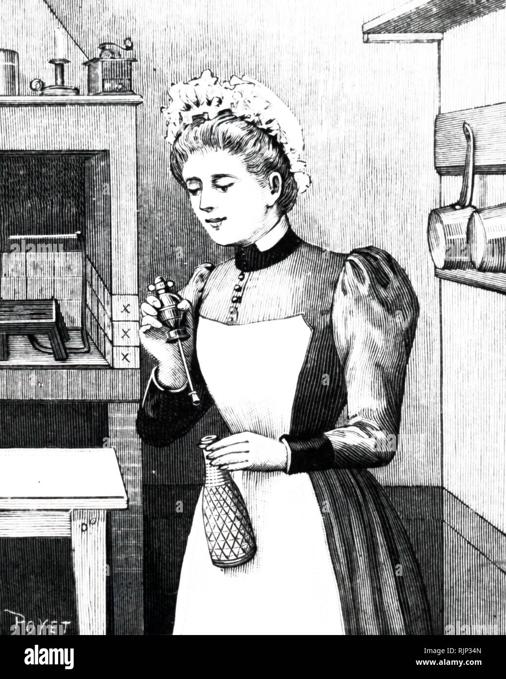 An engraving depicting a maid filling a rechargeable 'Sparklet' soda syphon. The gas cartridge was placed in the bulb she is holding in her right hand. Dated 19th century - Stock Image