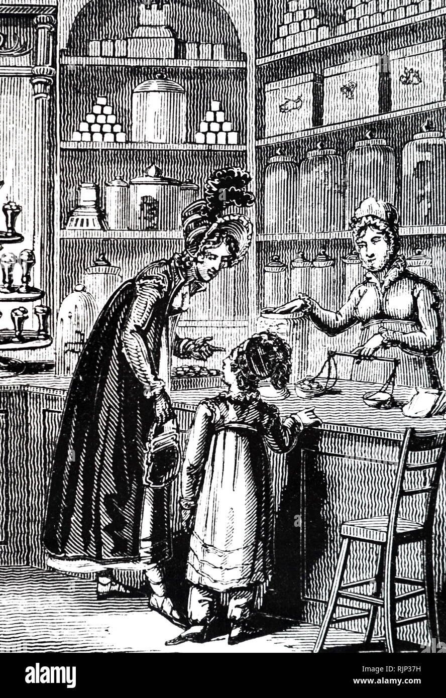 An engraving depicting a child being bought sweets in a confectioner's shop. Dated 19th century - Stock Image