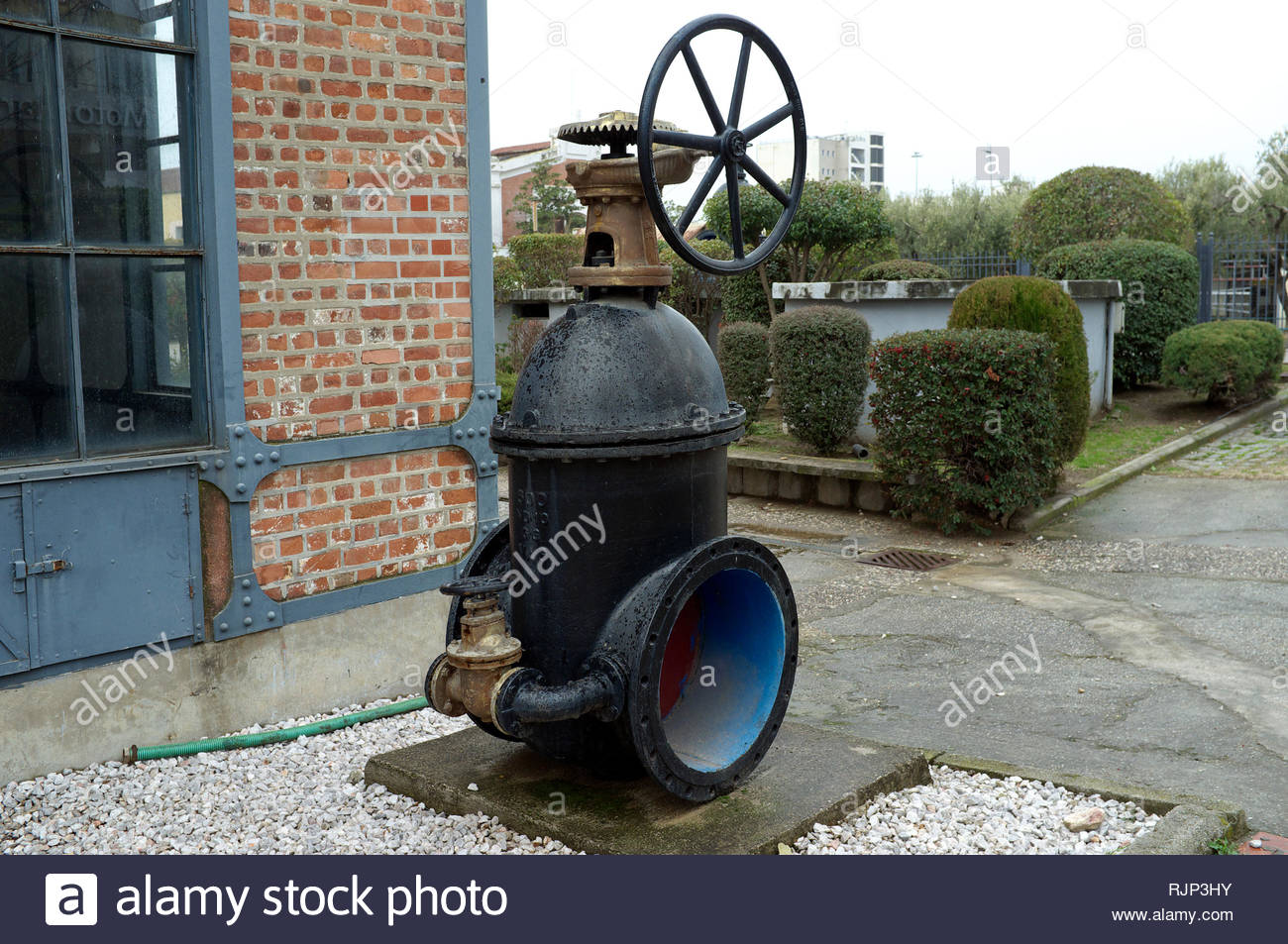 Water Museum - a large valve on display outside the museum in Thessaloniki, Central Macedonia, Greece. Stock Photo