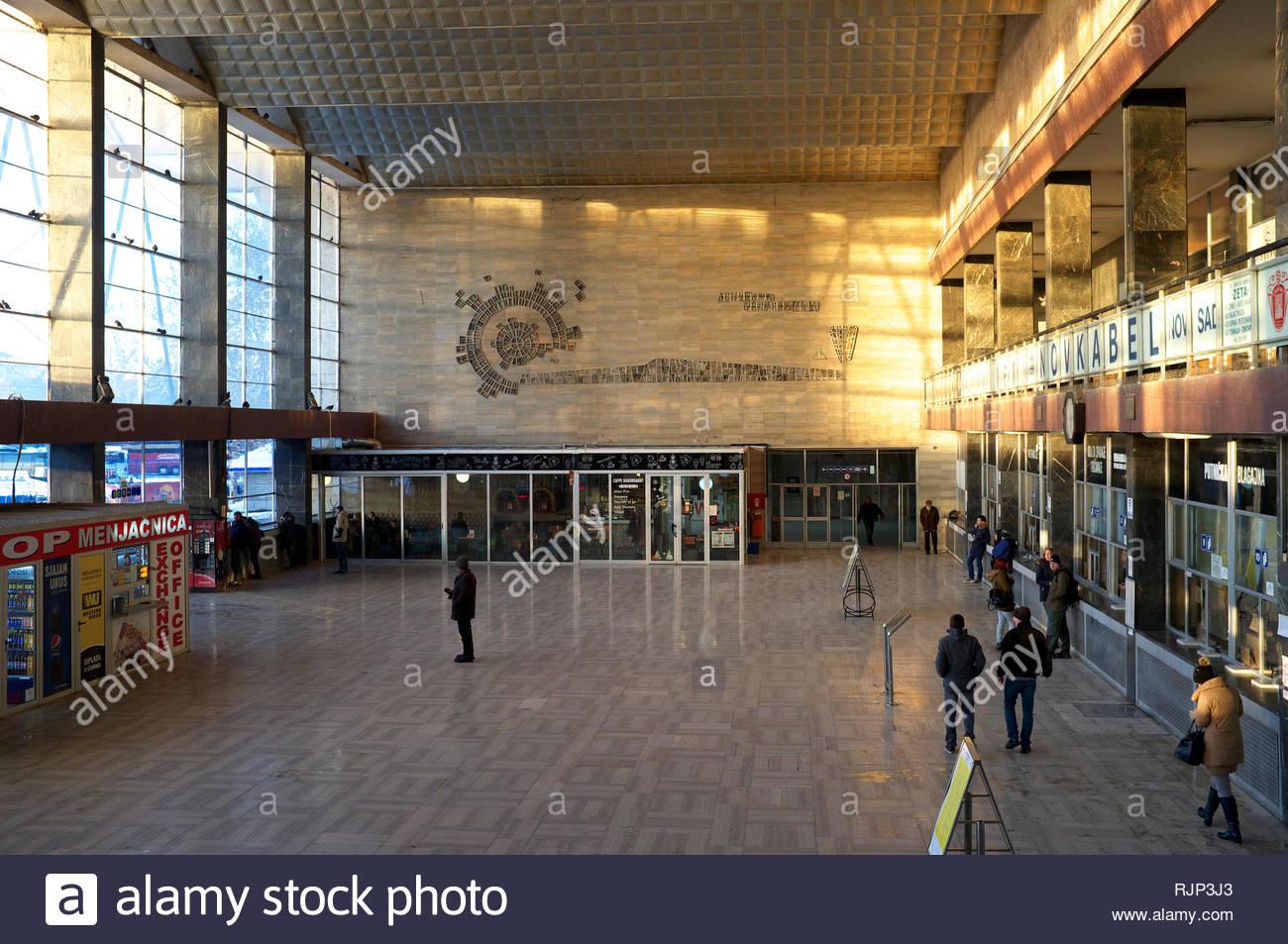 The booking hall of Novi Sad railway station. City of Novi Sad, Vojvodina, Serbia. Stock Photo