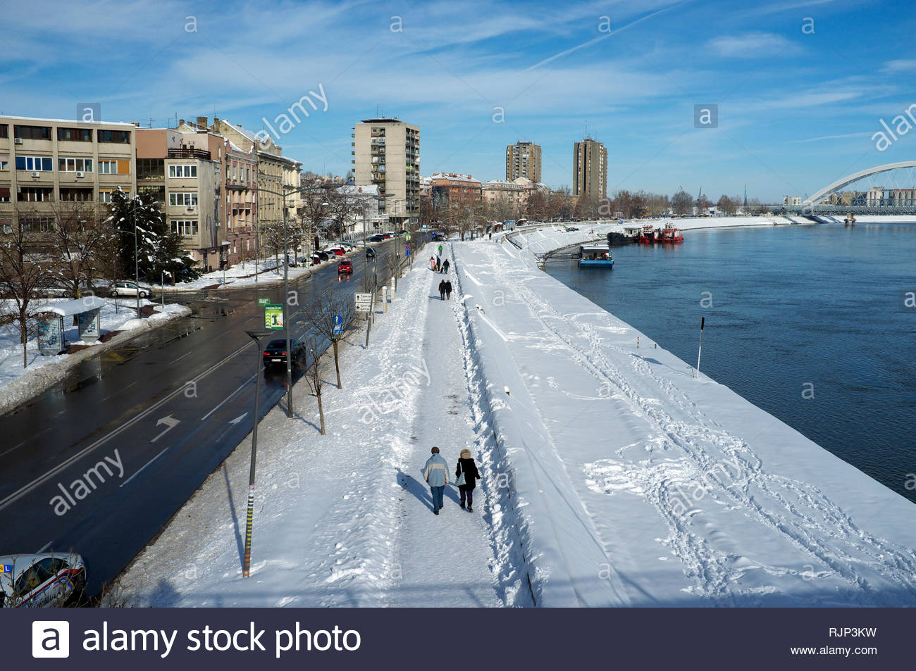 The River Danube and the city of Novi Sad, Vojvodina, Serbia. Stock Photo