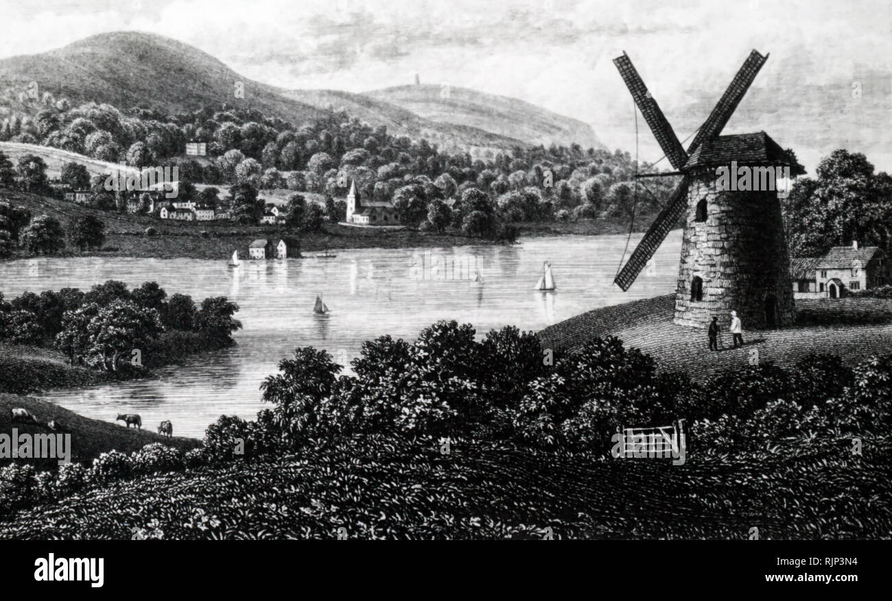 An engraving depicting Bambridge Mill, Isle of Wight, looking towards Bradding. Dated 19th century - Stock Image