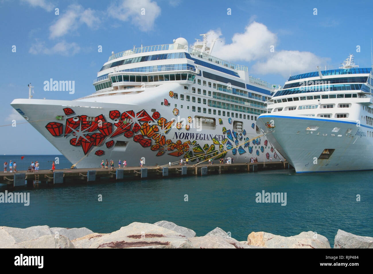 St. George's, Grenada - Nov 08, 2017: Cruise liners moored to pier - Stock Image