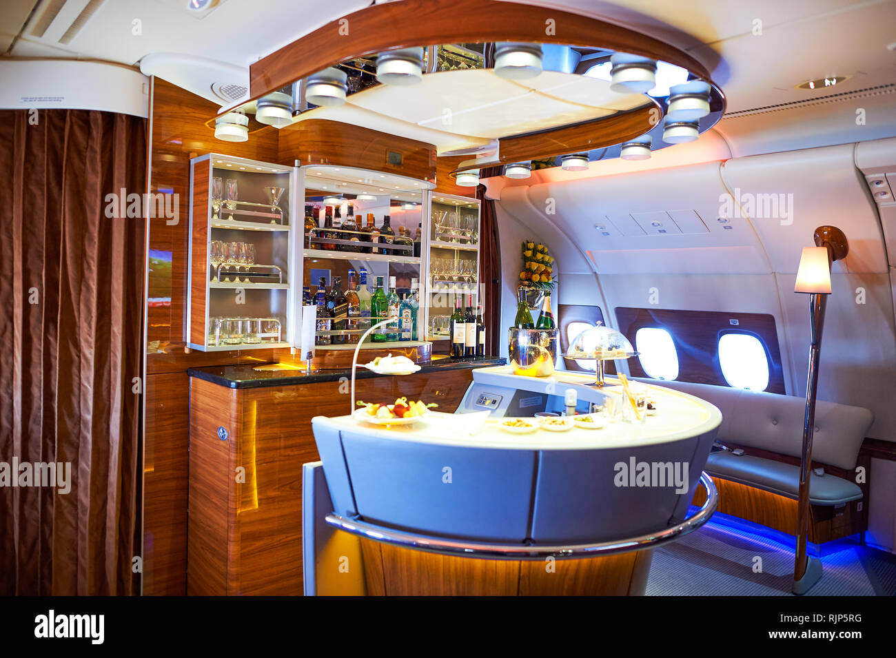 DUBAI, UAE - MARCH 31, 2015: interior of Emirates Airbus A380. Emirates is one of two flag carriers of the United Arab Emirates along with Etihad Airw - Stock Image