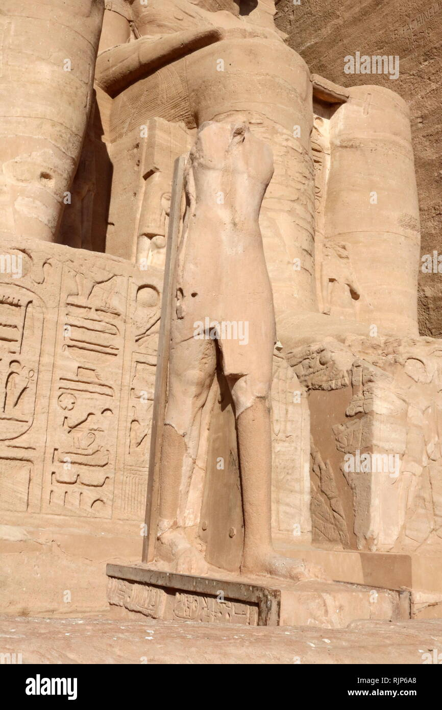 A photograph taken of the Abu Simbel Temple, in Nubia, Southern Egypt, near the border with Sudan. The complex is a UNESCO World Heritage Site. The temple dates to the 13th century BC, during the 19th dynasty reign of the Pharaoh Ramesses II. It is a monument to the king and commemorates his victory at the Battle of Kadesh. The complex was relocated in its entirety in 1968 under the supervision of a Polish archaeologist, Kazimierz Michalowski, on an artificial hill made from a domed structure, high above the Aswan High Dam reservoir. Stock Photo