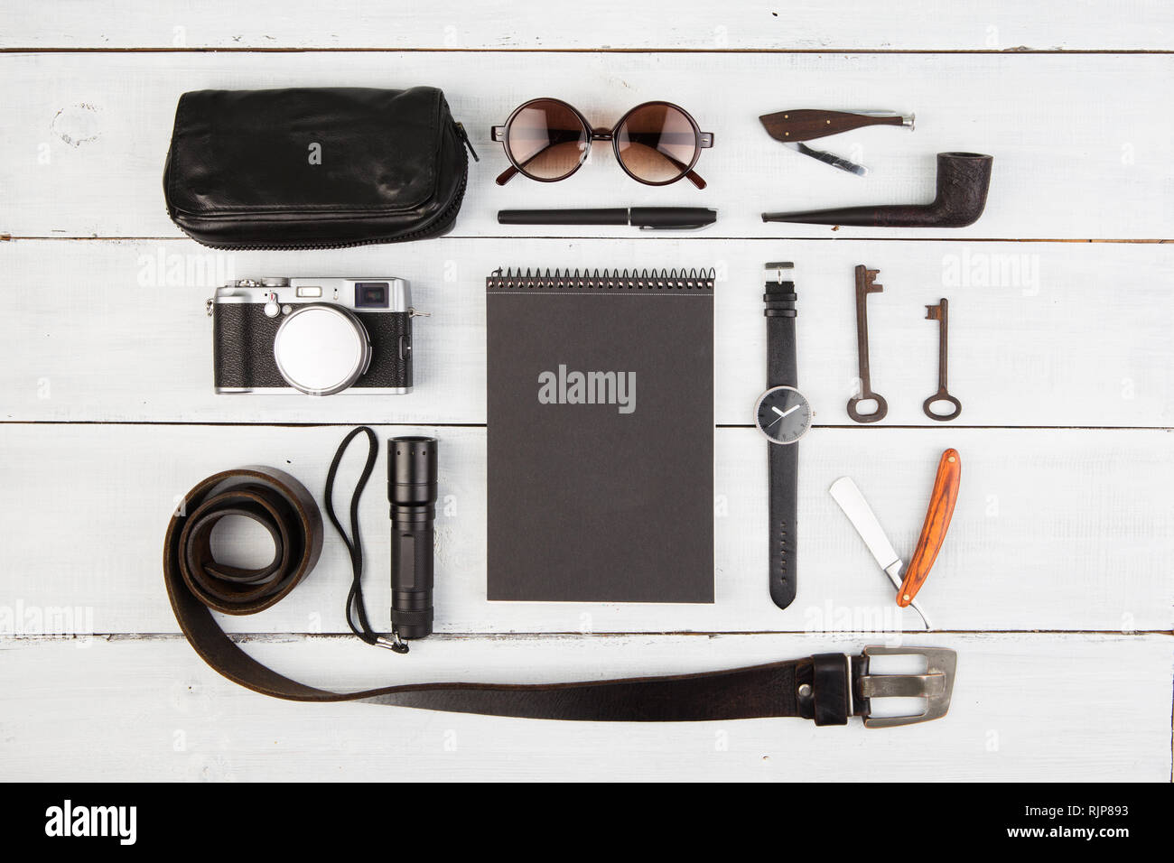 Travel concept - set of cool men's stuff - Stock Image