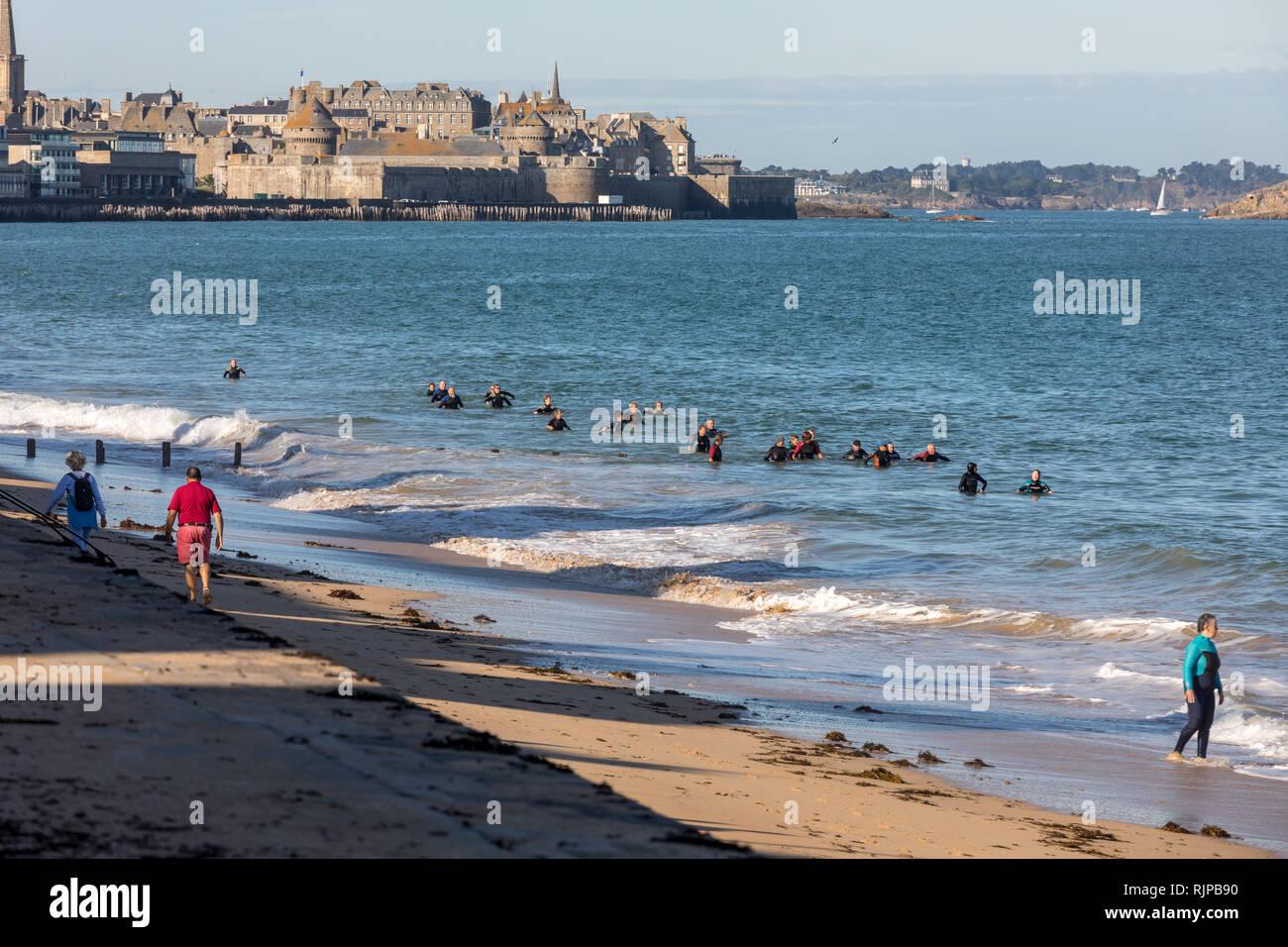Saint-Malo, France - September 14, 2018: Aqua walking along the beach in Saint-Malo, Brittany, France - Stock Image