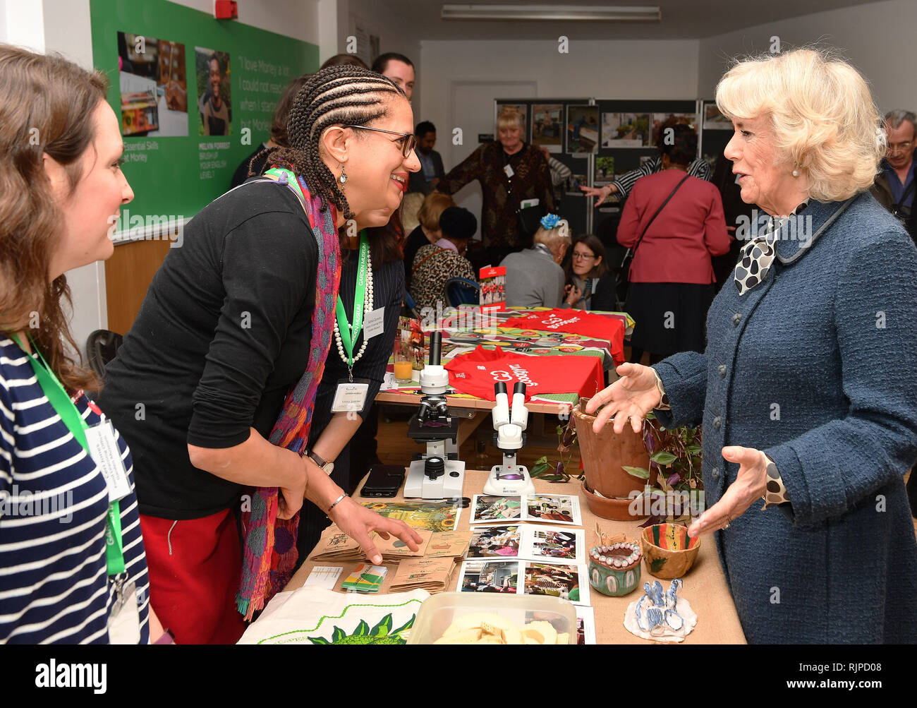 The Duchess of Cornwall meets the people who grow garden produce at the Lambeth GP food Co-op, at the Stockwell community centre during a reception for their 6th anniversary in Stockwell, south London. Stock Photo
