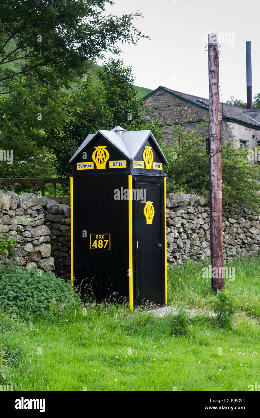 Automobile Association (AA) roadside emergency telephone box, situated near Dunmail Raise on the A591, north of Grasmere, Cumbria. The AA telephone bo Stock Photo