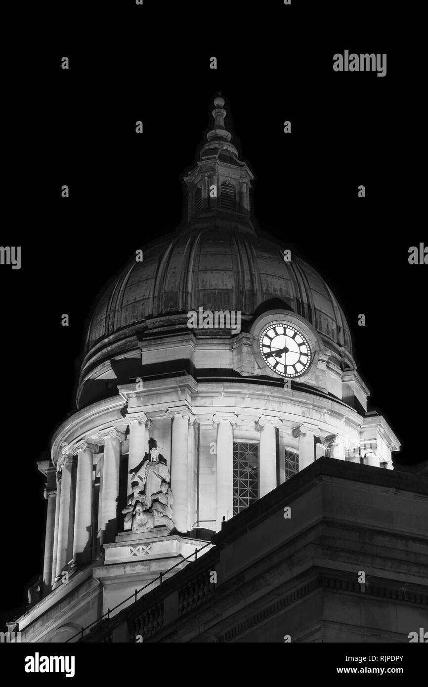 Nottingham Council House at Night in Black and White - Stock Image