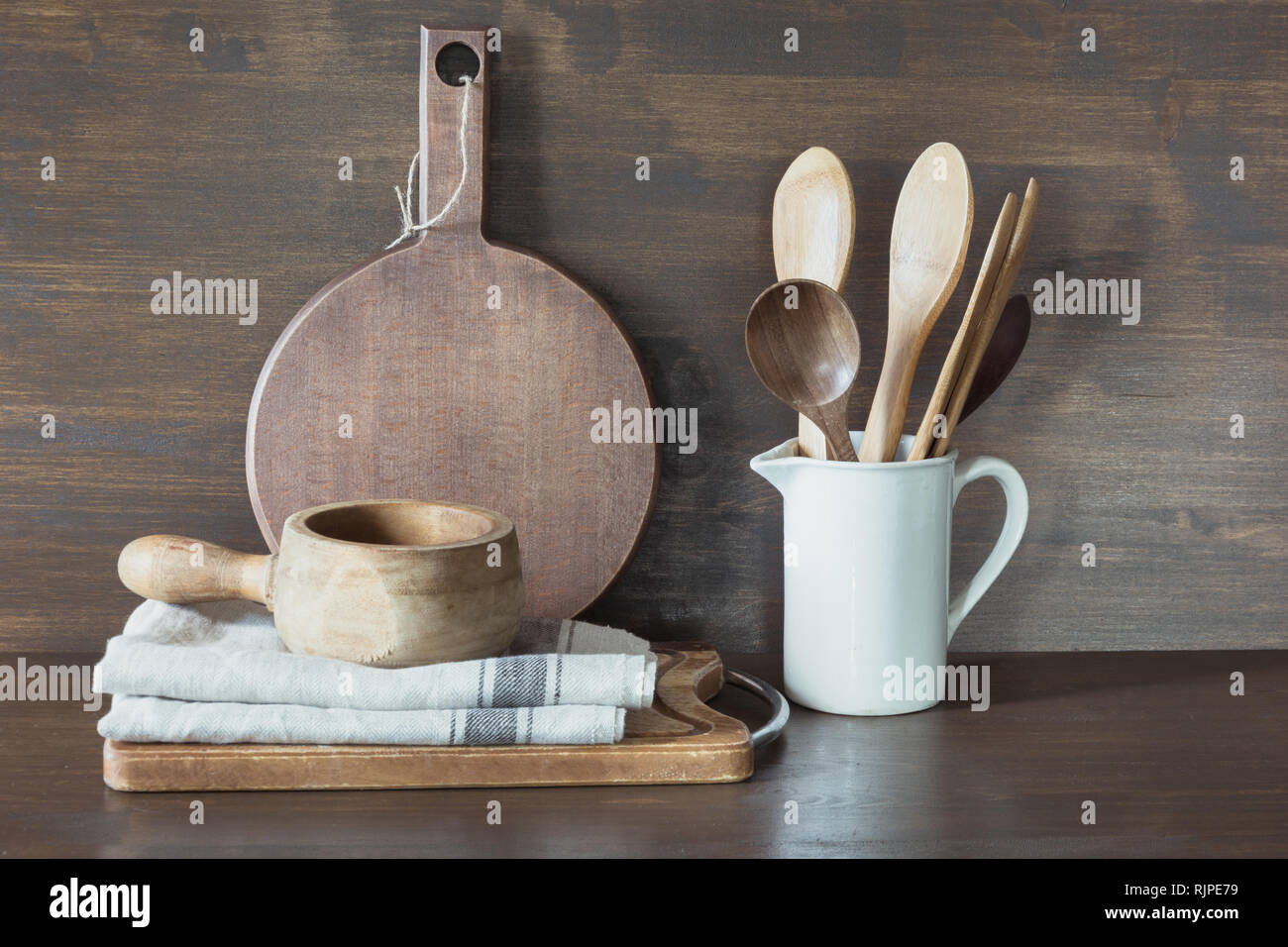 Crockery, clayware, white utensils and other different stuff. Kitchen still life. - Stock Image