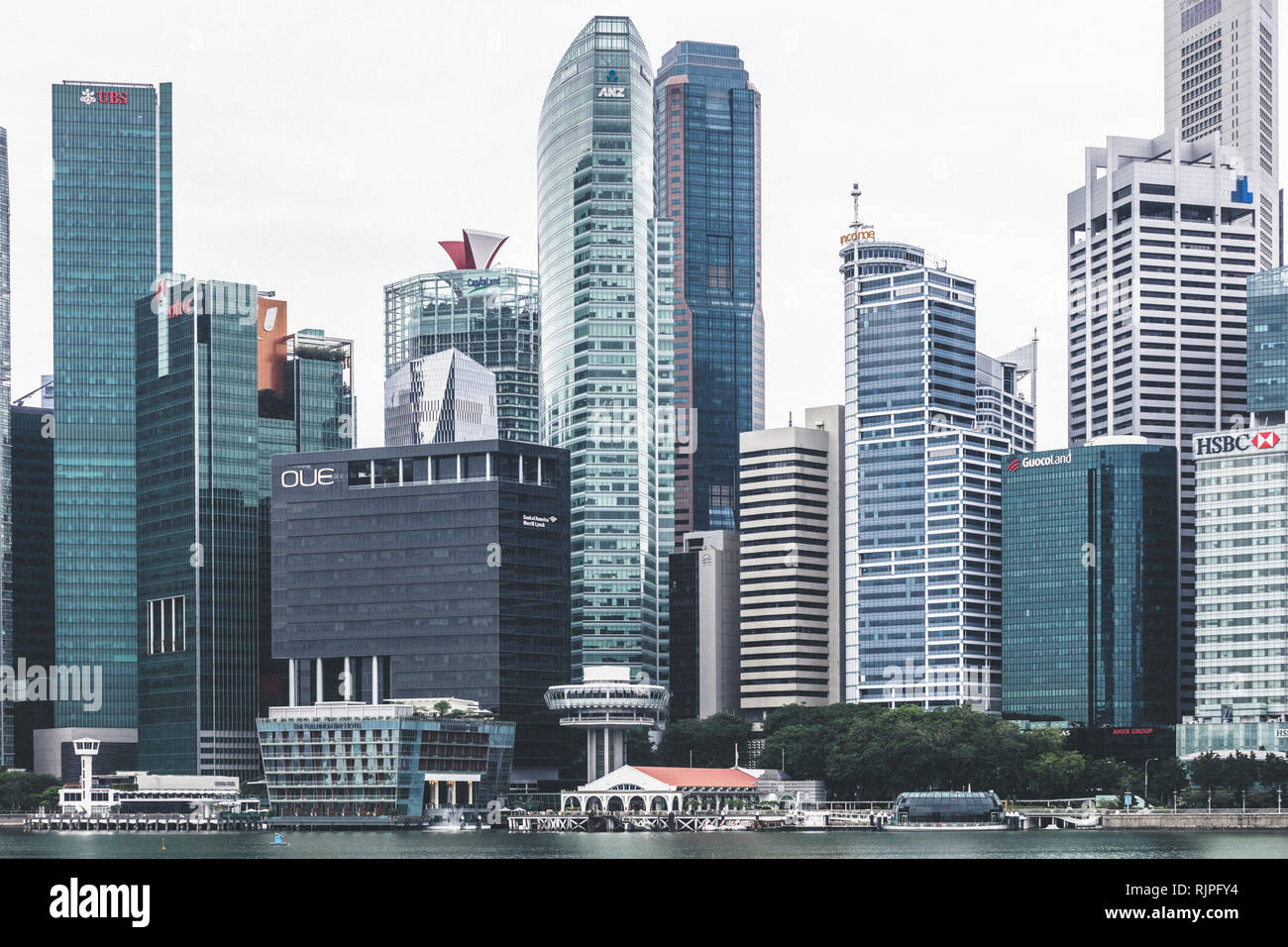 a8bcb1c04c0 Singapore   Singapore - January 15 2019  Singapore Raffles Place office  buildings architectural close up details aerial view in elegant retro muted  c