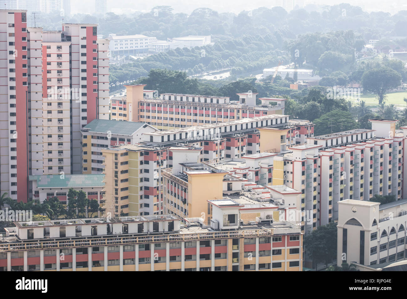 Singapore / Singapore - January 15 2019: Singapore Toa Payoh Balestier high density buildings aerial view in elegant retro muted colours Stock Photo