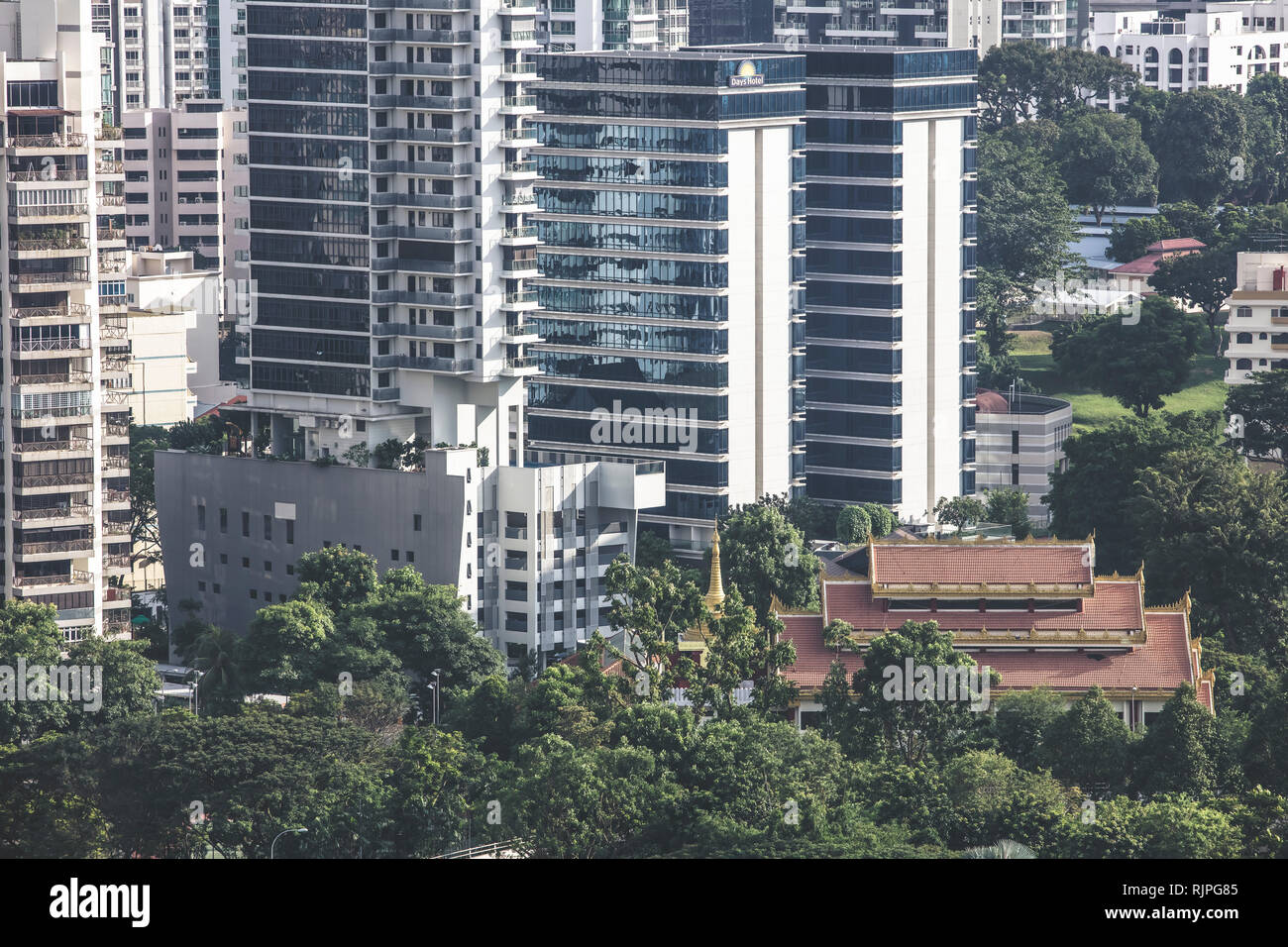 Singapore / Singapore - January 15 2019: Singapore Toa Payoh Balestier high density buildings aerial view in elegant retro muted colours - Stock Image