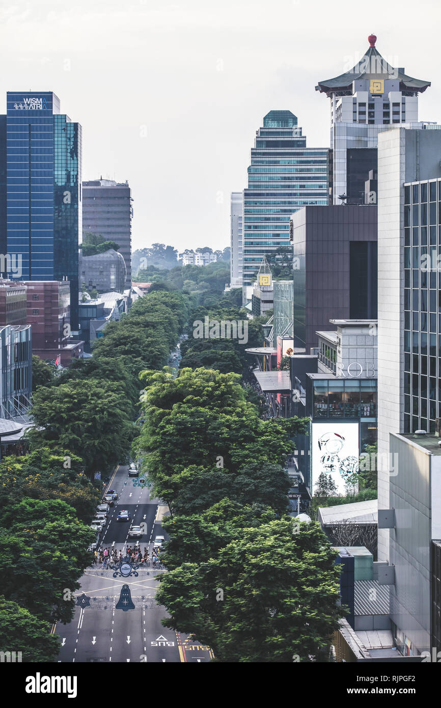 55f39d81581 Singapore   Singapore - January 15 2019  Singapore Orchard Road shopping  mall building architectural aerial view in elegant retro muted colours