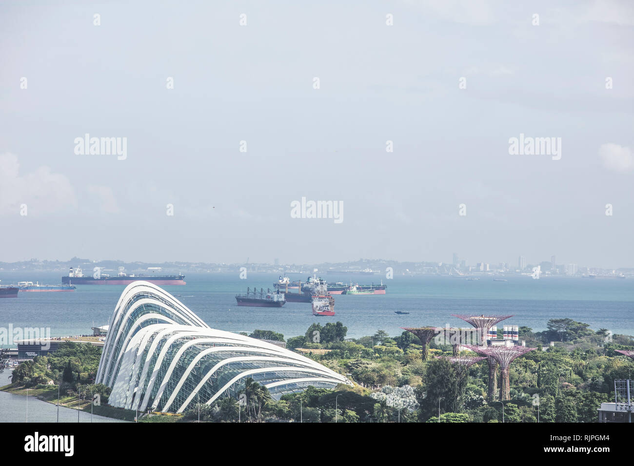 Singapore / Singapore - February 02 2019: Singapore gardens by the bay and flower dome with sea aerial view in elegant retro muted colours - Stock Image